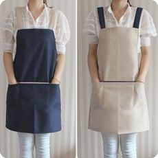 日系H型圍裙 不繞頸雙色素面工作服 廚房防髒防油汙防水美髮美甲美容制服男女餐廚烘焙家用成人工作家務