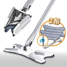 X型 免手洗平板拖把 1桿2布 除塵吸水乾濕兩用 站立式功能 拖把組 懶人拖把 地板清潔