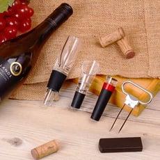 【品酒超值4件組】氣壓式紅酒開瓶器+紅酒抽氣筒酒塞+隨身型快速醒酒器+典雅紅酒斟酒器