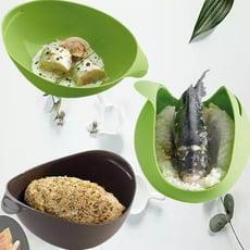 新多功能料理碗【CH270】多功能矽膠折疊碗食品級矽膠蒸魚碗創意廚具料理碗烘培工具煮魚器