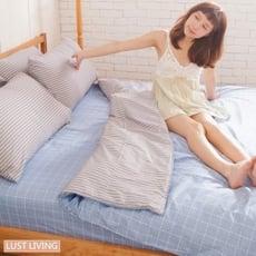 LUST LIVING【無印日風 】100%純棉、單人3.5尺精梳棉床包/枕套組 (不含被套)