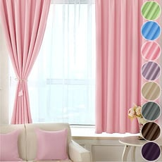 【小銅板-加厚純色遮光窗簾】寬100X高130-2片入-總寬200公分(可穿伸縮桿 掛勾 兩用)