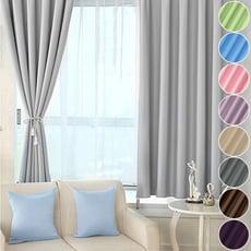 【小銅板-加厚純色遮光窗簾】寬100X高165-2片入-總寬200公分(可穿伸縮桿 掛勾 兩用)