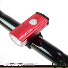 【速度公園】DOSUN SF300 自行車前燈 USB充電式 白光 300流明『紅色』多彩外殼 頭燈