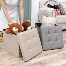 高耐重簡約麻布儲物沙發凳(小號)
