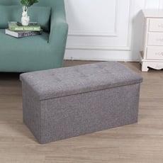高耐重簡約麻布儲物沙發凳(中號)