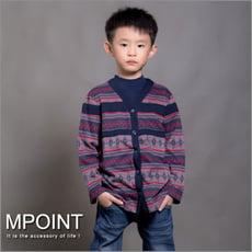 MIT 雪花圖騰V領全開襟外套-男童