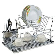 【達人收納】雙層不鏽鋼碗盤瀝水架