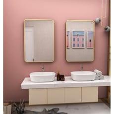 鏡子40*60CM 化妝鏡 梳妝鏡浴室鏡北歐鐵藝金色方形衛生間鏡子客廳裝飾鏡梳妝臺鏡浴室壁掛鏡穿衣鏡