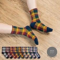 韓國襪子 復古風拼色格紋中筒襪【K0668】