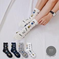 韓國襪子 滿版史努比中筒襪 【K0449】正韓長襪 韓妞必備少女襪 百搭純色襪子
