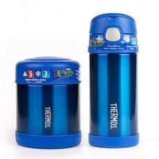 【美國膳魔師THERMOS】藍色不鏽鋼水壺食物罐組合