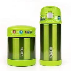 【美國膳魔師THERMOS】綠色不鏽鋼水壺食物罐組合