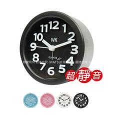 無敵王 小圓形 立體數字鬧鐘(粉/藍/白/黑隨機出貨) WK-1303A