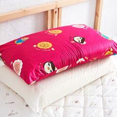 【奶油獅】同樂會系列-100%精梳純棉信封式標準枕通用枕頭套(莓果紅)