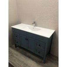 浴櫃 洗臉盆櫃 120CM 復古拉絲藍 盆櫃 ( 含 水龍頭 配件) PVC防水板材