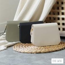 皮革磁扣迷你小方包 共2色 ( 氣質黑/典雅白 ) 側背包 肩背包 斜背包【DEMI丹米】