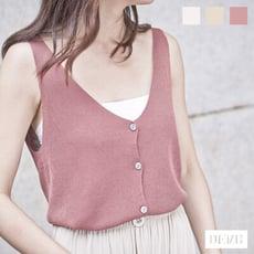 最後出清↘純色V領排釦針織背心 高彈性基本款素色上衣 (白/米白/磚紅)【DEMI丹米】