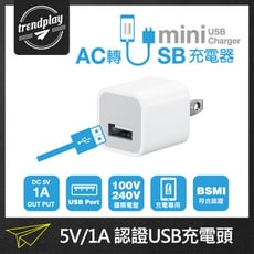 USB電源充電器 (5V/1A) BSMI 安規合格認證 保固一年 充電頭 豆腐頭 插座 插頭