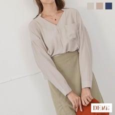 現貨最後一件!V領滑布質感單口袋雪紡襯衫 ( 粉膚色 )【DEMI丹米】