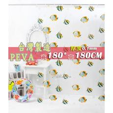 台灣製  PEVA 180*180 防水浴簾、附掛勾˙隔間簾、防止冷氣外洩 - A