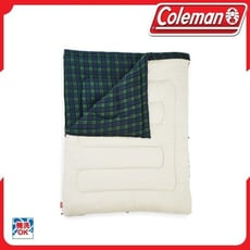 Coleman 冒險者橄欖格紋刷毛睡袋/C033804/露營/可拆式/化纖睡袋/信封型睡袋/雙人睡袋