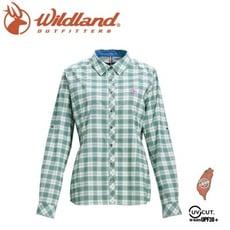 Wildland 荒野 女 彈性抗UV格子長袖襯衫《灰綠》0A71203/登山休閒服/快乾機能衣/防