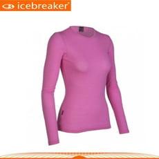Icebreaker 女 圓領長袖上衣《粉紅》IB8E78/抗臭/羊毛衣/保暖/中層衣