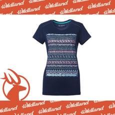 Wildland 荒野 女 彈性棉感抗UV印花上衣/L《深藍》0A61607-72/抗紫外線/短袖T