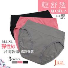 現貨 台灣製 涼感 透氣 輕薄 棉質 速乾 彈性紗 褲口舒適 極簡蕾絲 三色 中腰 三角 女內褲