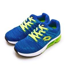 lotto專業飛織避震氣墊慢跑鞋 SUPER LITE系列 藍螢綠 1615 女