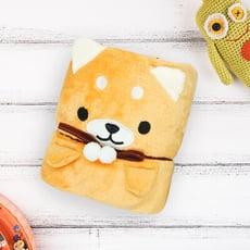 好東東 卡通柴犬造型法蘭絨毛毯(棕)