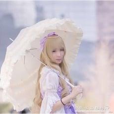 可愛長柄傘晴雨傘荷葉邊鏤空木耳花邊拱形Cosplay公主洋傘【3C精品閣】