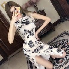 改良旗袍 春夏新款時尚修身顯瘦改良式少女中長版開叉蕾絲旗袍年輕款洋裝【3C精品閣】