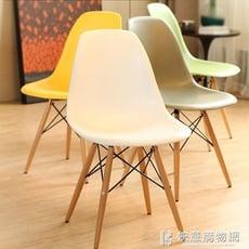 北歐網紅椅洽談創意書桌現代簡約休閒家用圓桌靠背椅電腦木餐椅子-【3C精品閣】