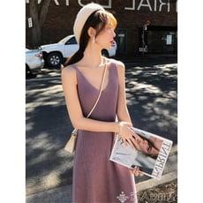 無袖洋裝女2020新款韓版簡約無袖針織連身裙女中長款素色打底背心裙【3C精品閣】