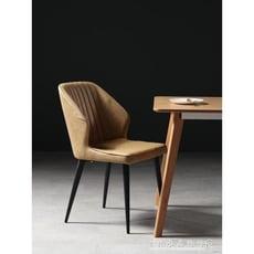 軟包餐椅北歐輕奢鐵藝靠背扶手設計餐廳椅奶茶椅書桌椅-【3C精品閣】
