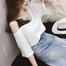 夏季女裝蕾絲拼接V領上衣露肩白色半截袖T恤女五分袖洋氣小衫【3C精品閣】