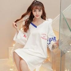 睡衣女夏季棉質短袖學生可外穿寬鬆大尺碼孕婦睡裙女【3C精品閣】