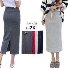 S-2XL 高腰開叉螺紋長裙一步裙 鉛筆裙 包臀裙