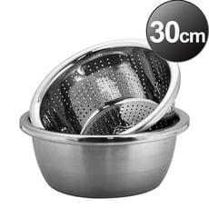 魔法瓶嚴選 304不鏽鋼洗米洗菜盆+調料盆30cm【MF0460L+MF0461L】