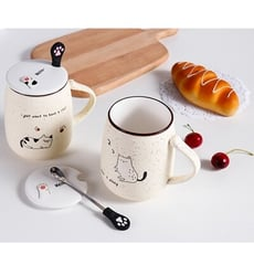 陶瓷可愛貓咪麥點馬克杯450ml+附湯匙