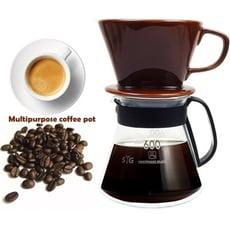 【咖啡沖泡組】大號陶瓷濾杯x1+台玻600ml咖啡壺x1-塑把/泡咖啡/泡茶濾杯/手沖咖啡濾器