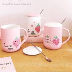 韓版馬克杯草莓限定陶瓷杯450ml蓋+匙