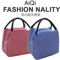 【賣客王國】精緻時尚條紋耐刮多功能手提袋 保溫袋 便當袋(隨機出貨)