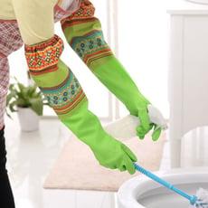 easy 加長加厚加絨保暖束口洗碗手套/洗衣橡膠手套/乳膠防水手套/家事家務手套