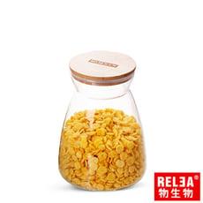 RELEA物生物 1100ml竹蓋梯形耐熱玻璃密封罐