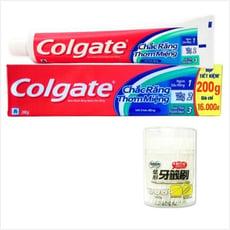 【Colgate 高露潔】三效合一牙膏(200g*12)+【奈森克林】葉形牙籤刷(300支/罐)*6