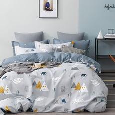【iHOMI】100%純棉 雙人床包兩用被套四件組-走進北歐