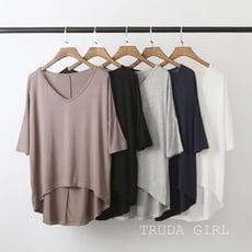 《杜達女孩》優質新款 超舒服莫代爾寬鬆蝙蝠袖 V領中袖 T恤 女 大尺碼 打底衫 上衣 短袖 五分袖